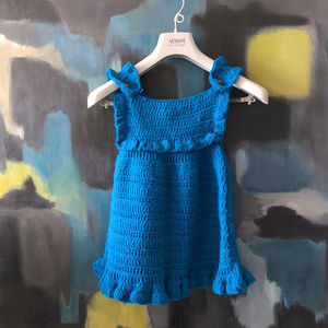 Crochet Knit 1970s Teal Wool Baby Girl Dress 3T 4T